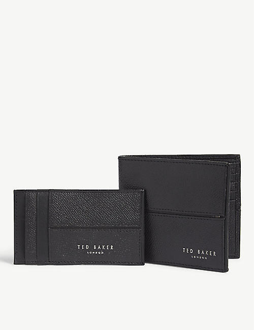 5814234f2 TED BAKER Leather wallet and card holder gift set