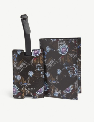 TED BAKER Minster leather passport cover and luggage tag gift set