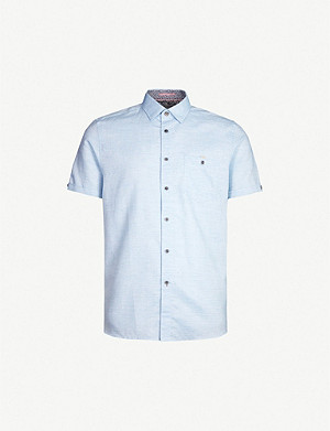 TED BAKER Clion regular-fit cotton and linen-blend shirt