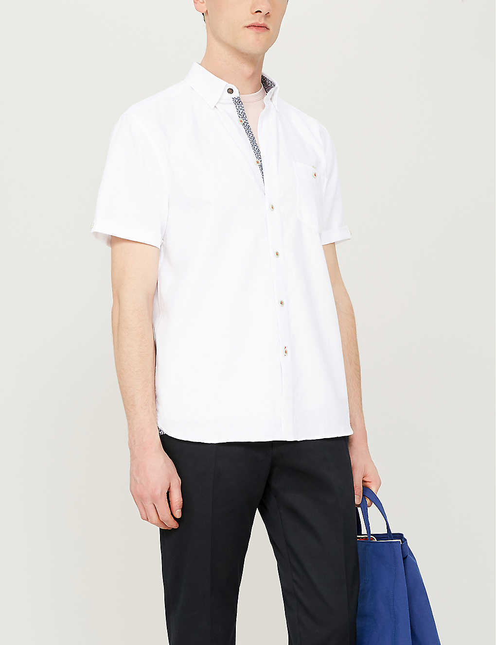 TED BAKER: Clion regular-fit cotton and linen-blend shirt