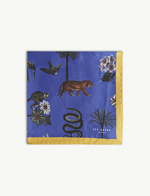 TED BAKER Whitsun animal silk pocket square
