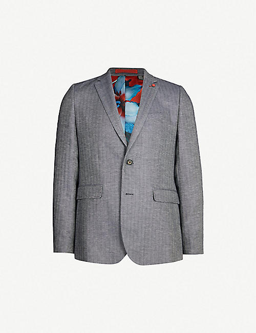 cf4e4de0215b TED BAKER Balrom herringbone-patterned slim-fit woven blazer