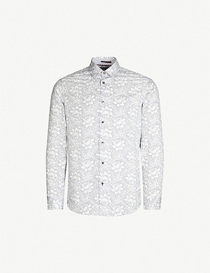 TED BAKER Lambie floral-print regular-fit cotton shirt