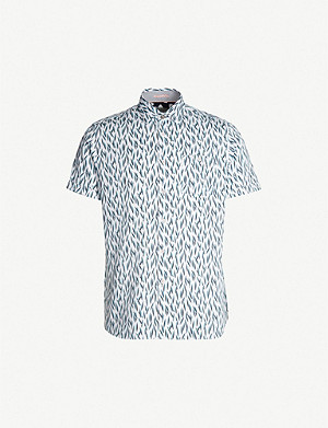 TED BAKER Woolrus regular-fit printed cotton shirt
