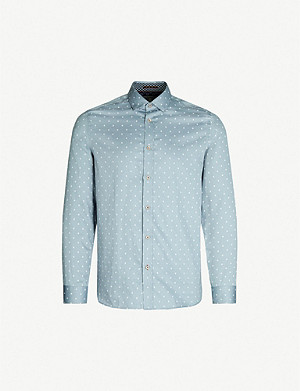 TED BAKER Feret diamond-print regular-fit cotton shirt