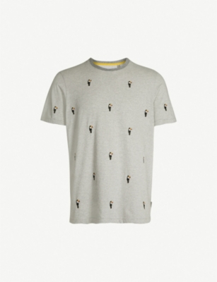 TED BAKER Vipa embroidered cotton-jersey T-shirt