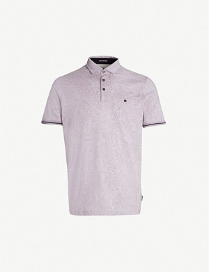 TED BAKER Vaness leaf-printed cotton-jersey polo shirt
