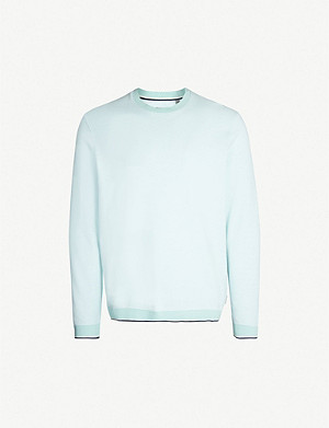 TED BAKER Contrast-trim cotton-jersey sweatshirt