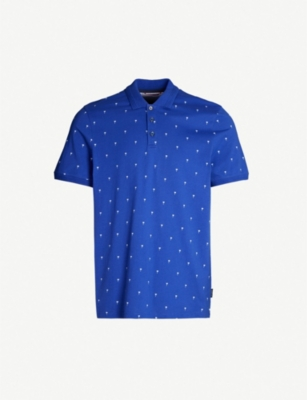 TED BAKER Palm tree-print cotton polo shirt