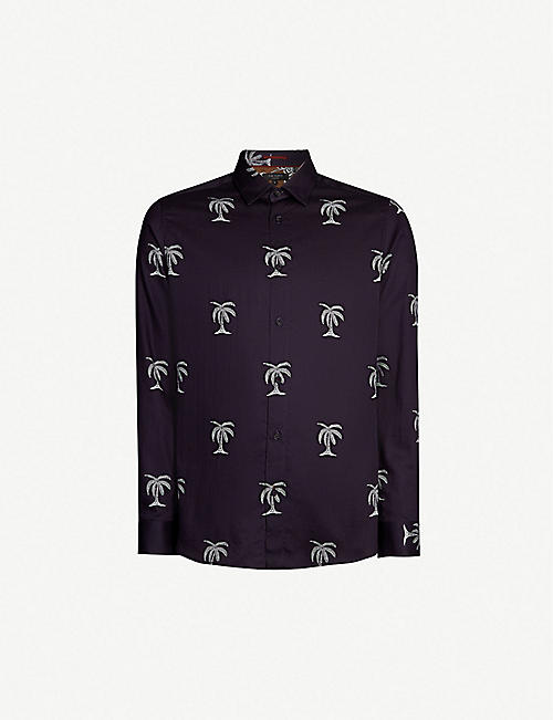 187eba0612a88 TED BAKER Palm tree-print modern-fit cotton shirt