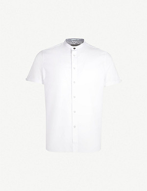 TED BAKER Grandad collar slim-fit stretch-cotton shirt