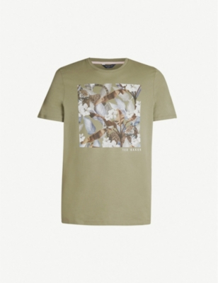 TED BAKER Forge leopard and foliage graphic cotton-jersey T-shirt