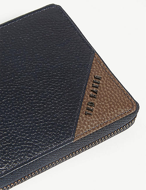 TED BAKER Bighigh zip-fastened grained leather wallet