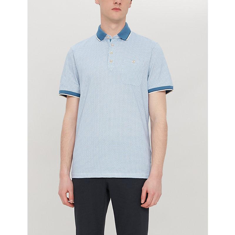 Ted Baker T-shirts TOFF GEOMETRIC-PRINT COTTON POLO SHIRT
