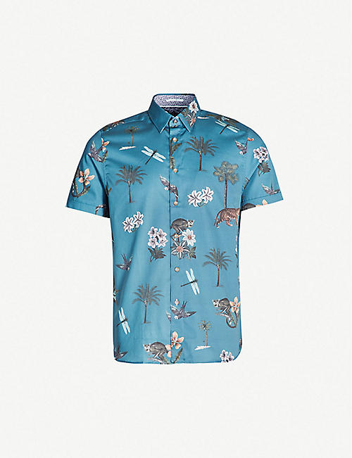 020b9be25 TED BAKER Group floral-print regular-fit cotton shirt