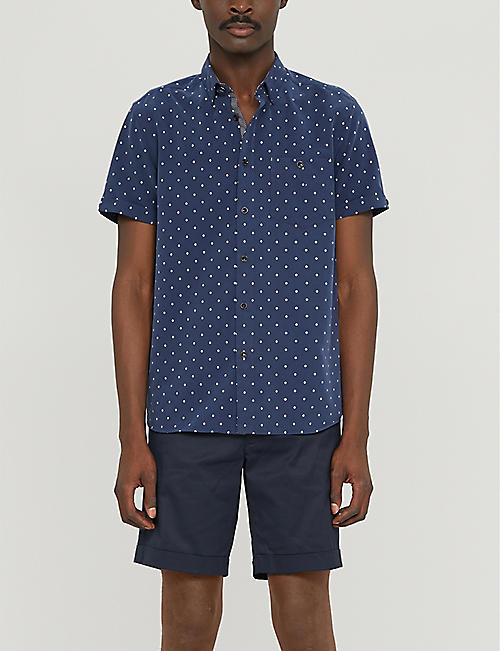 TED BAKER Diamond-pattern regular-fit woven shirt