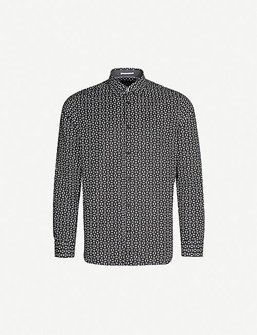 TED BAKER: Gareth geometric patterned slim-fit cotton shirt