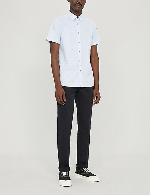 TED BAKER Geometric-pattern regular-fit cotton shirt