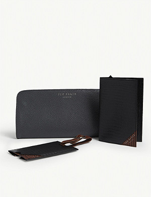TED BAKER Arter leather passport holder, case and luggage tag set