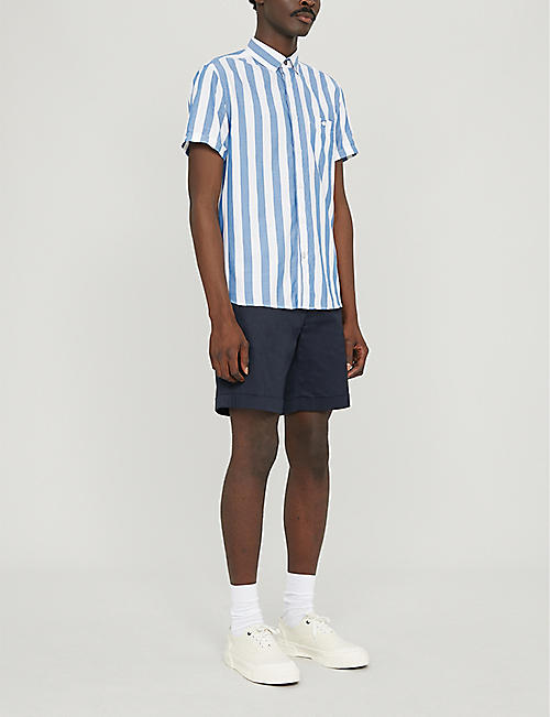 TED BAKER Striped regular-fit cotton-blend shirt