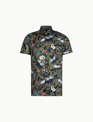 TED BAKER Kingfisher-printed short-sleeve cotton shirt