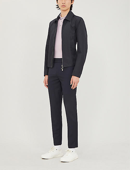 TED BAKER Contrast-trim geometric stretch-cotton polo shirt