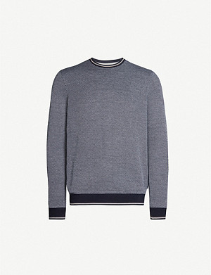 TED BAKER Joshy diagonal woven stripe cotton-jersey sweatshirt
