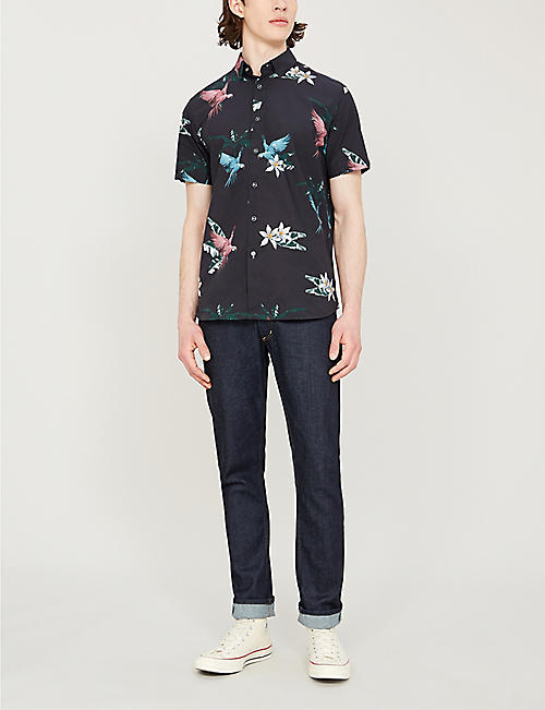 TED BAKER SENSE parrot-print slim-fit cotton shirt