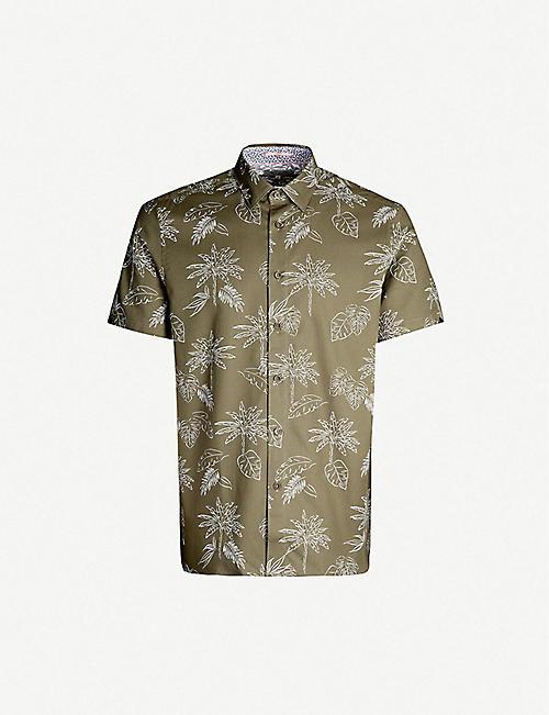 11efb52abdd918 TED BAKER Lushh palm-print regular-fit cotton-pique shirt