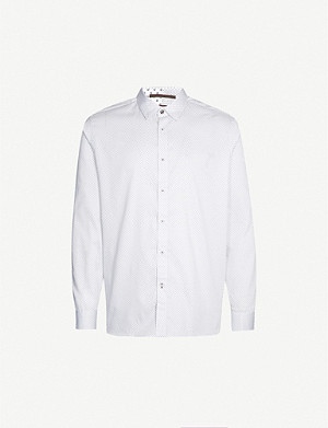 TED BAKER Tomass tailored-fit geometric-print cotton shirt