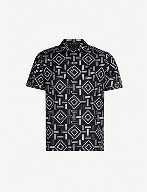 TED BAKER Simon geometric print relaxed-fit cotton shirt