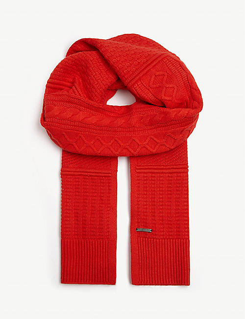 TED BAKER Knitted cotton-blend scarf