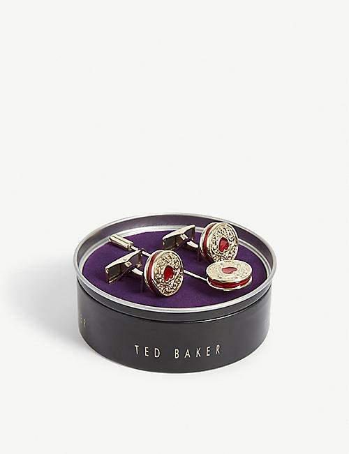 TED BAKER Biscuit cufflink and lapel pin set