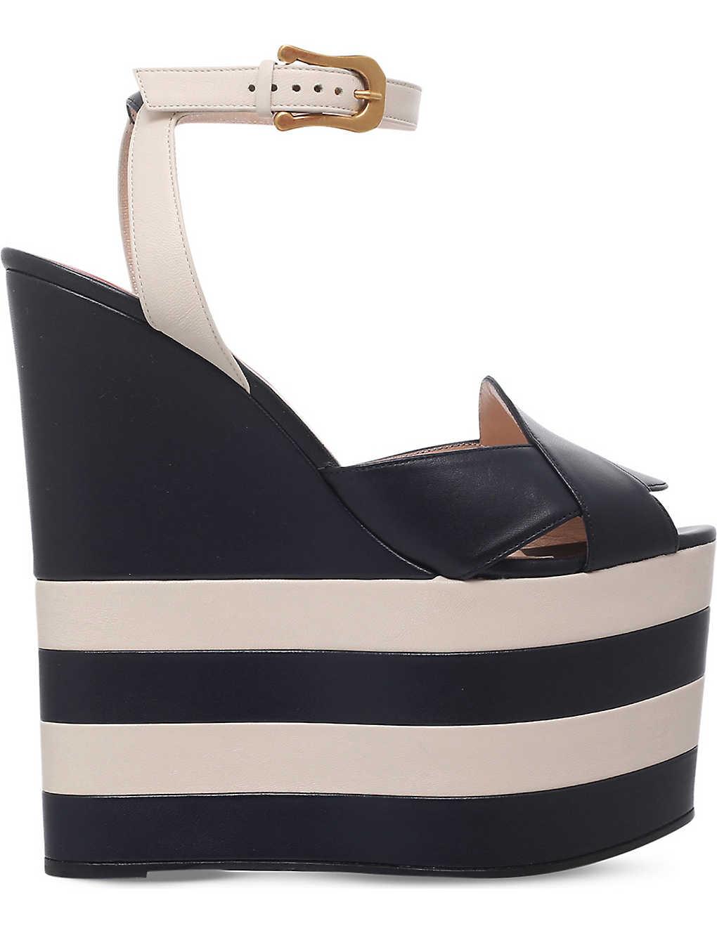 fc1471a327 GUCCI - Sally leather platform wedge sandals | Selfridges.com