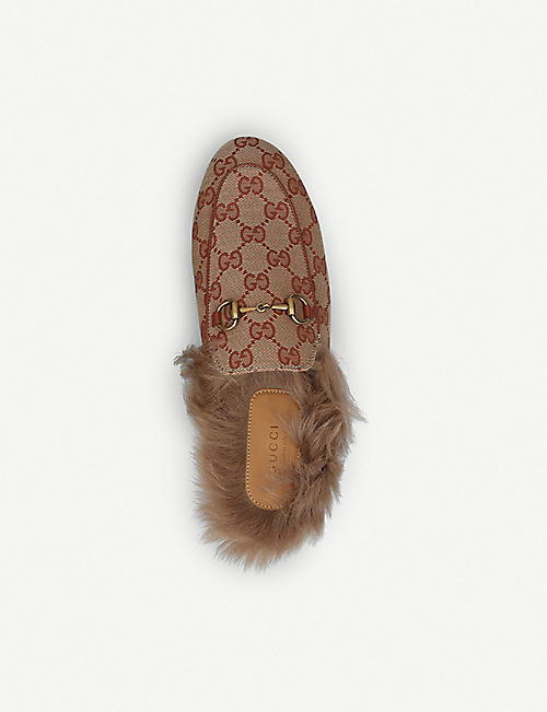 GUCCI Princetown monogram leather slippers