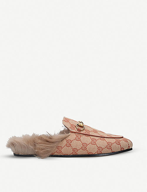 GUCCI: Princetown monogram leather slippers