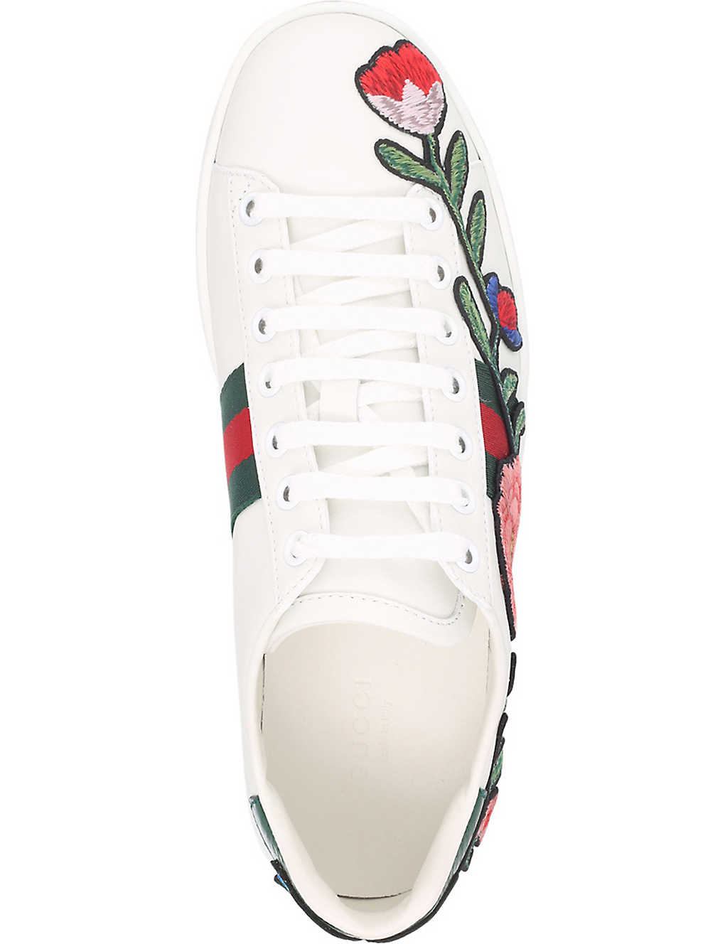 90341039bf2 ... New Ace floral embroidered leather trainers - Whitered ...