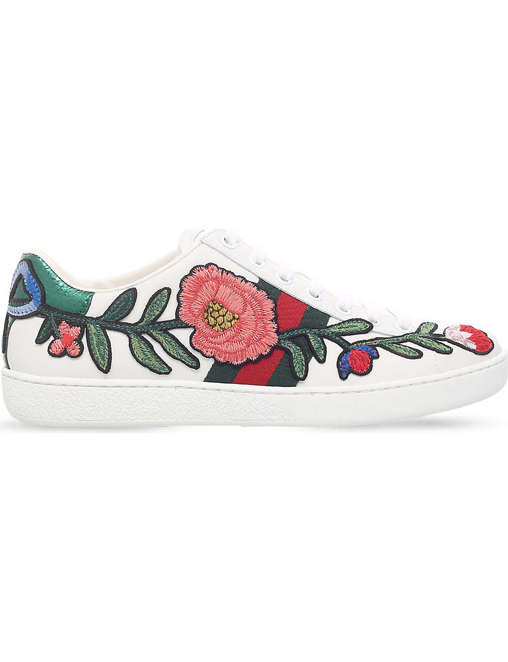 9c1b5a0c4c8 New Ace floral embroidered leather trainers - Whitered ...