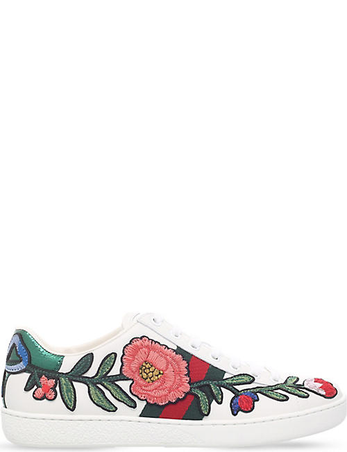 603a241310a GUCCI New Ace floral embroidered leather trainers