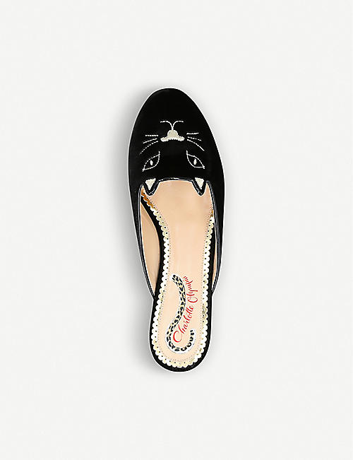 CHARLOTTE OLYMPIA Kitty backless velvet slippers