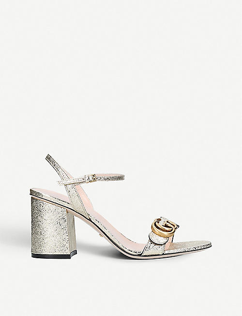 cec7571f0a729 GUCCI Marmont metallic leather sandals