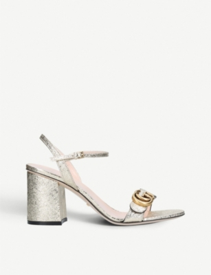 GUCCI Marmont metallic leather sandals