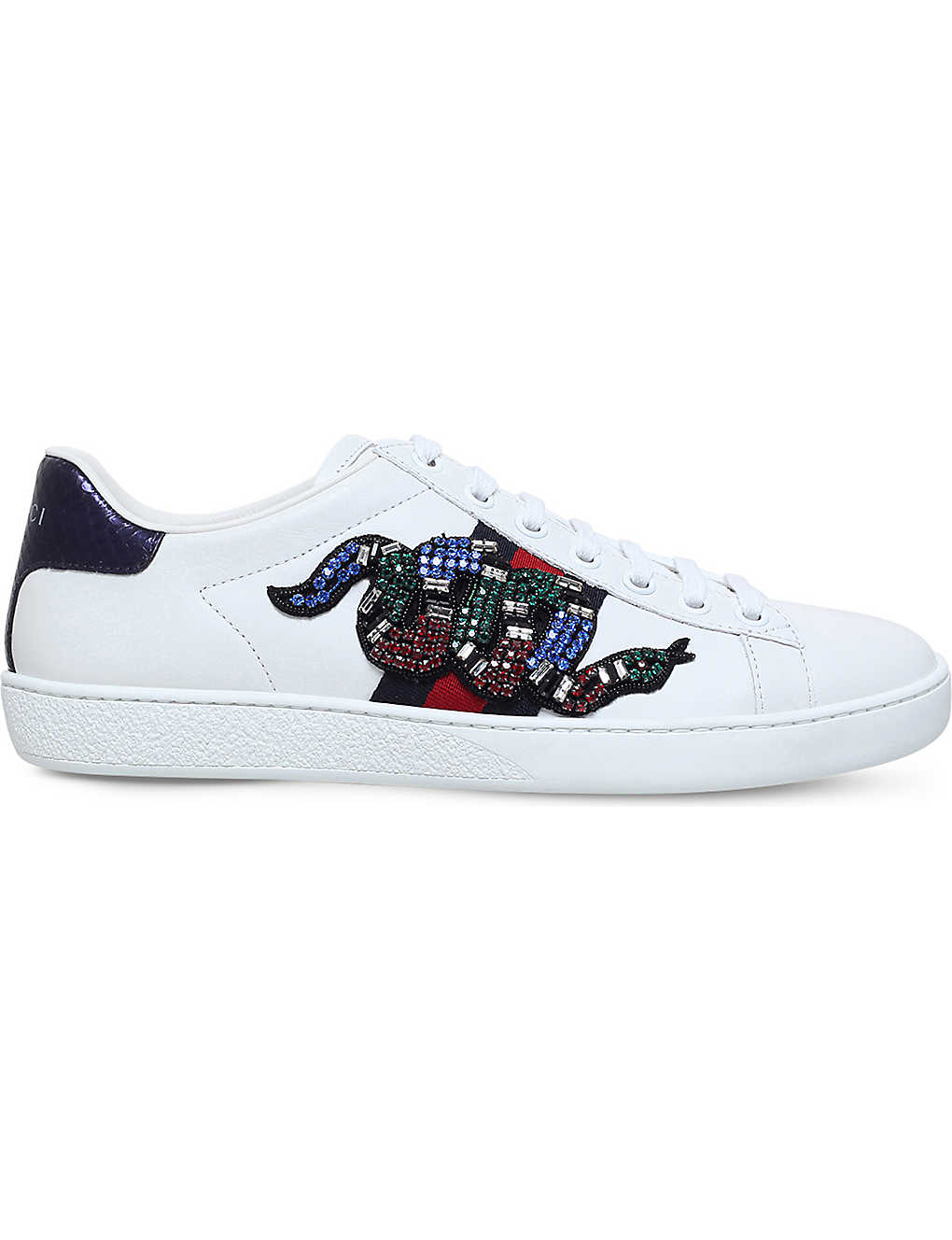 b34ddc83f72 Ace snake-embroidered leather trainers - Whiteoth ...