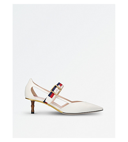 Unia Grosgrain-Trimmed Leather Pumps, White