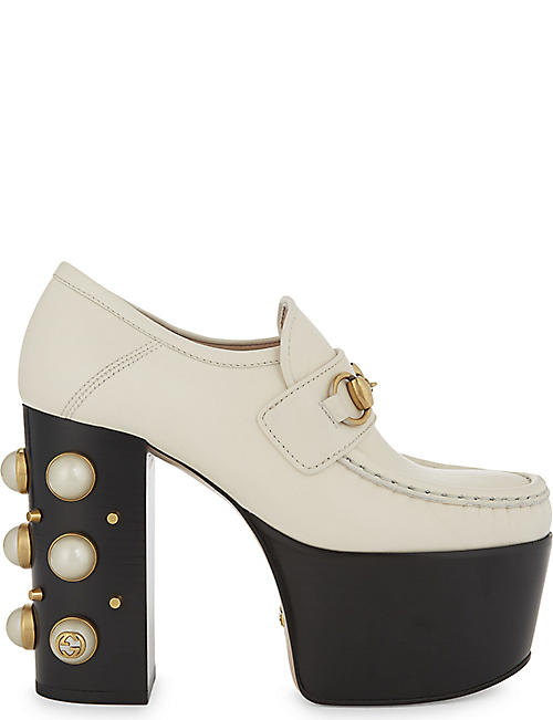 fc278bd7dfe GUCCI Vegas 125 Pearl leather high heeled loafers