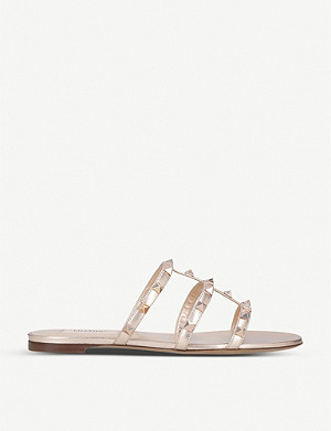 VALENTINO Rockstud metallic-leather sandals