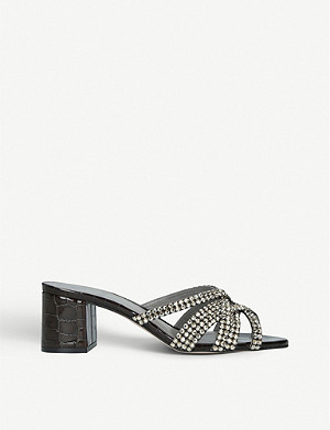 GINA Dexie crocodile-embossed leather mules