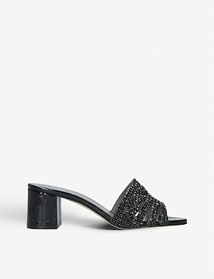 GINA Visage croc-embossed patent leather mules