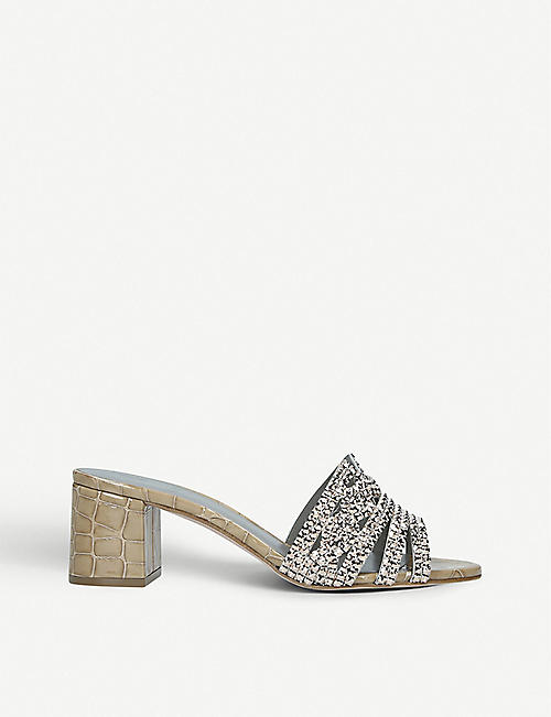 GINA Visage jewel-embellished leather mules