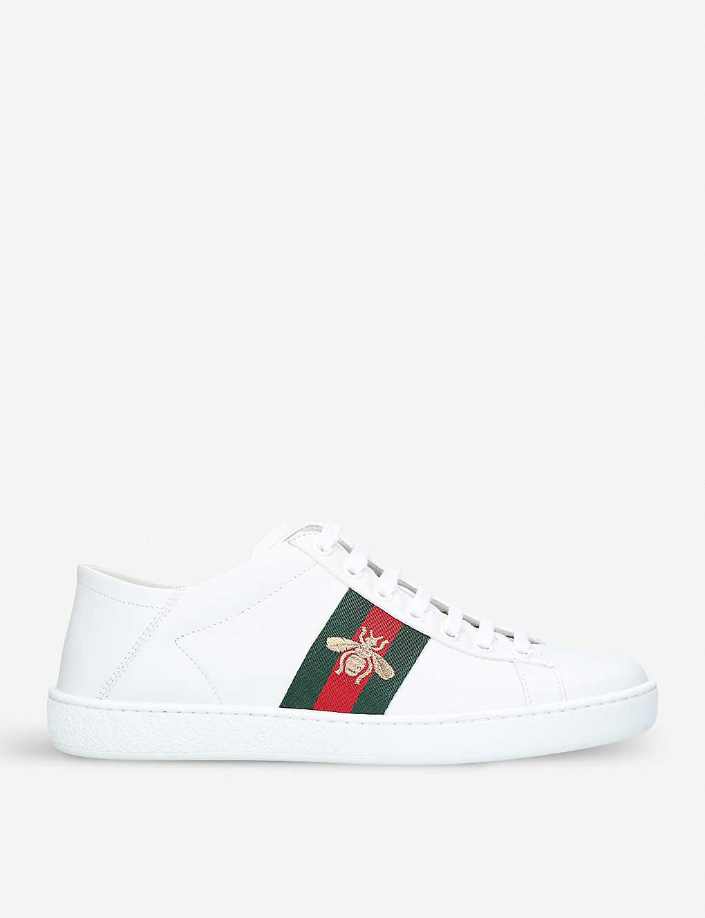 Gucci Shoes New Ace bee-embroidered leather trainers